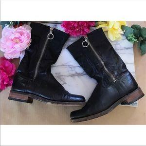 Frye Black Leather Square Toe Mid Calf Zipper Boot